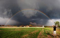 Storm Comin' Behind a Full Rainbow 4/13/14 Dublin, TX ~ Dan Whittaker