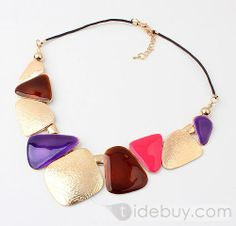 Western Style Colorful Geometric Alloy Fashion Necklace(2colors) : Tidebuy.com