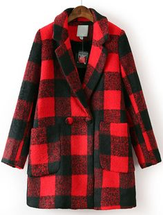 Black Red Plaid Lapel Long Sleeve Pockets Coat US$59.43