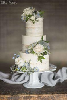 Rustic wedding cake with real flowers! SOMETHING BLUE WEDDING THEME WITH GREENERY www.elegantwedding.ca