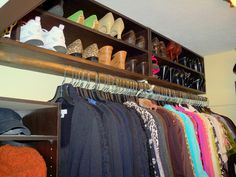 Tips and Tricks for Organizing a Closet-- Love how she used the space above her rod for shoes!