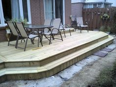 Platform Deck, wrap around stairs. Bigger deck and wider stair, so you could take a sit on it and the deck wouldn't just come to an end.