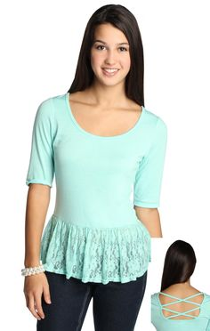 Deb Shops peplum top with twist back detail and lace peplum