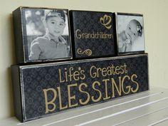 Black wooden blocks Grandchildren life's greatest blessings black painted blocks for grandparents, grandma and grandpa fathers day gift or. $22.00, via Etsy.