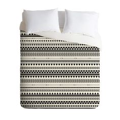 Allyson Johnson Black And White Aztec Pattern Duvet Cover - contemporary - Duvet Covers - DENY Designs