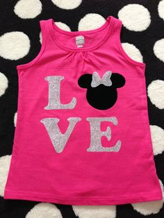 LOVE Mickey or Minnie Glitter Iron-On Transfer for t-shirts or tote bags - Etsy - Camisetas Disney Diy, Disney Crafts, Disney Trips, Disney Love, Disney Cruise, Disney Ideas, Disney Vacations, Disney 2017, Disney Shirts For Family
