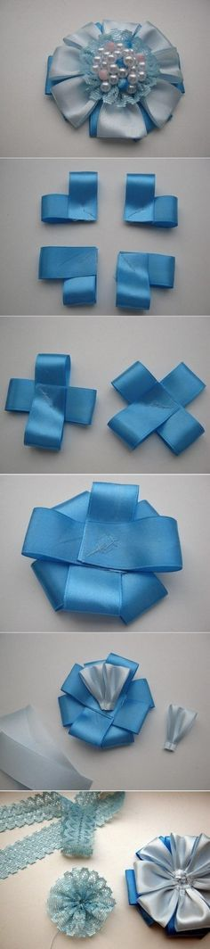 DIY Satin Ribbon Brooch Flower . If you are interested about fashion , beauty and decor please follow www.womengoldensecrets.blogspot.com