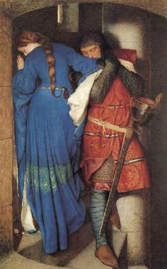 Pre Raphaelite Art: Meeting on the Turret Stairs, water color by Frederick William Burton. This is one of my favorite works of art. The painting itself is beautiful.then if you find out the backstory looking at it brings a tear to my eye Art And Illustration, Romantic Paintings, Beautiful Paintings, Pre Raphaelite Paintings, Pre Raphaelite Brotherhood, Frederick William, Frederick Leighton, Art Plastique, Oeuvre D'art