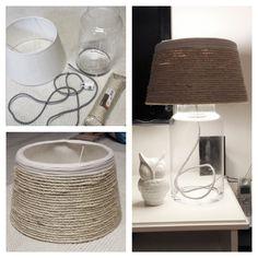 DIY Lamp - glazen vaas - witte lampenkap - jutte touw - stroomkabel in een leuk kleurtje - (spuit)lijm - vitting