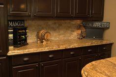 dark kitchen cabinets with gold granite | Granite Girl Marble and Granite Sales and Installation » Kitchen ...