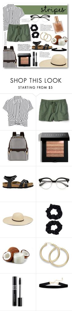 """Stripes!"" by fuzzy-peaches ❤ liked on Polyvore featuring T By Alexander Wang, Gap, Henri Bendel, Bobbi Brown Cosmetics, Birkenstock, Accessorize and Christian Dior"