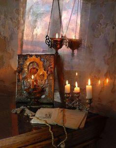 orthodox christianty still life photography on We Heart It Catholic Altar, Roman Catholic, Orthodox Prayers, Orthodox Easter, Prayer Corner, Home Altar, Russian Painting, Orthodox Icons, Blessed Mother