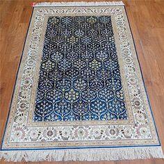 Camel Carpet Blue Handmade Persian Silk Rug Online 4'x6' ... http://www.amazon.com/dp/B01ELFTTIS/ref=cm_sw_r_pi_dp_b8aixb03N3SGB