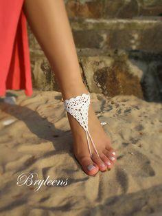 A piedi nudi sandali da sposa bianco crochet sandali a piedi