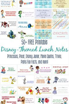 School may be coming far too soon for your kids, but maybe you can add a little fun to their return? Get over 50 FREE printable, Disney-themed Lunch Box Notes! We have put together pages featuring your favorite Princesses, Disney Junior, and Pixar characters, as well as movie quotes and trivia, and Disney Parks fun facts!   Lunchbox Notes include The Little Mermaid, Inside Out, Mickey Mouse Clubhouse, Sofia the First, Winnie the Pooh, Jake and the Neverland Pirates, PJ Pals, Tinker Bell…