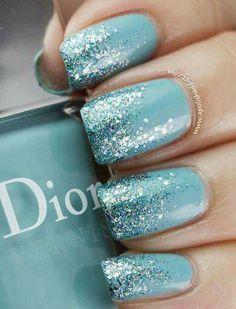 Aqua glitter nail art
