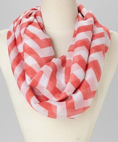 This Fuschia & White Zigzag Infinity Scarf by Jasmine Trading Corp is perfect! #zulilyfinds