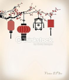 Vector Art : Chinese Lantern hang on cherry tree