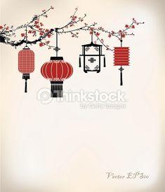 Vector Art : Chinese Lantern hang on cherry tree