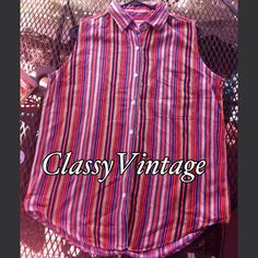 1980's bright striped top Fun and bright striped top by Andrew's Blues. Sleeveless and button front and one front chest pocket. This is tag size medium but runs big and loose. Typical 80's . Back is pleated  for room and has a loop for hanging. It has tails. Andrew's Blues Tops