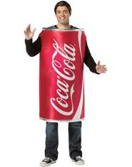 Coca-Cola Can Adult Costume - This Adult Coca-Cola Can Costume features a one piece tunic in the shape of a can of Coke! What a great and funny costume idea!