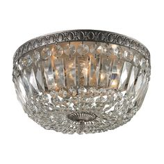 Westmore Lighting Crissay 15-in W Sunset Silver and Clear Crystals Standard Flush Mount Light