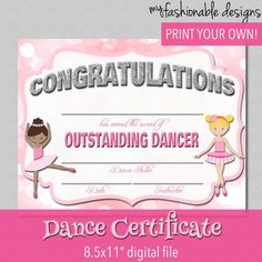 Dance certificate templates certificate dancers and dancing dance certificate print your own instant download yelopaper Choice Image