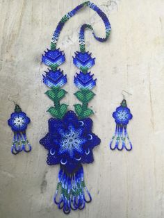 Mexican Huichol Flower Necklace With Earrings Included     eBay