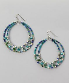 Take a look at this Blue & Silver Beaded Hoop Earrings by Majestic on #zulily today!