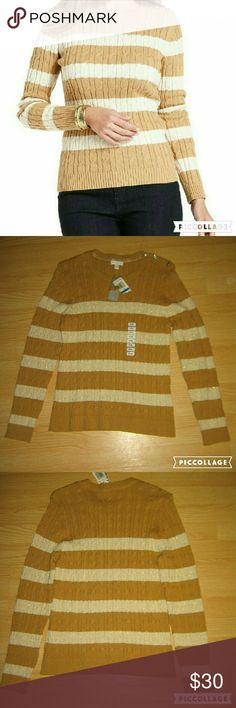 1 HR SALE Charter Club Striped Cable Knit Sweater This sweater is brand new. It is a cable knit striped crew neck sweater in Sweet Cream. The color is light brown and light khaki with a gold/bronze metallic threading woven in the light khaki stripes. Made of 86% cotton 11% nylon 3% metallic. Tag size is PL (Petite X Large). Charter Club Sweaters