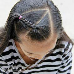 Accent Braid - 01/19/2018.  #AccentBraid #Braids #Hair #Hairstyles #LittleGirlHairstyles #LittleGirlStyles #Styling #Cute #Pretty #Beautiful #Simple #Quick #Easy #HappyWeekend #MyHairstyles30