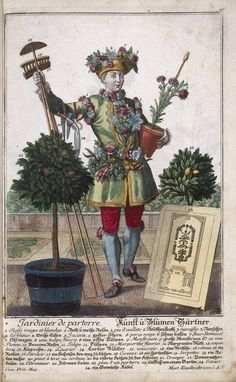 A landscape gardener with the tools, costume and apparatus of his trade - Coloured engraving, 18th Century