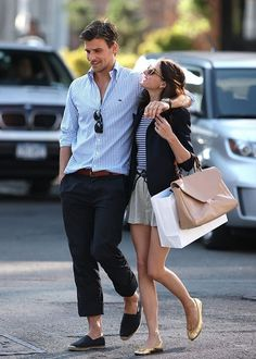 Discover this look wearing Black Blazers, Gold Shoes, Brown Purses - Olivia Palermo and BF by love_soleil styled for Casual, Everyday in the Summer Preppy Mode, Preppy Style, My Style, Couple Style, Style Blog, Estilo Olivia Palermo, Olivia Palermo Lookbook, Fashion Moda, Look Fashion