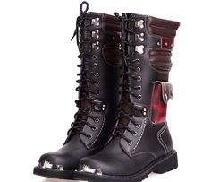 9fcf96ebcd0 Mens Boots Cool Rivet Knee Boots Heighten Boots Outdoor Army Leather Boots  Men Shoes New Arrival