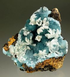 Smithsonite with Calcite on Limonite - Kelly Mine, Magdalena, Socorro Co., New Mexico