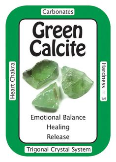 """Crystal Card of the Day: Green Calcite, """"I find pleasure in the simple joys of life."""" Green Calcite can be used to assist in the manifestation process. Green Calcite will also bring in the energy of."""