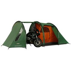 Vango Stelvio 200 TentDesigned with cycling and motor bike touring in mind the Vango Stelvio 200 Tent (2 man) is designed with a full height drive in 'garage' area which can hold a motorbike or multiple bicycles., with added space for changing kit or making repairs. This Vango tent features tent poles that are designed to fit standard pannier bags showing that this has a focused design, complete with Vango's patented Torsion Band System for maximum performance out in the field.    Pack Size…