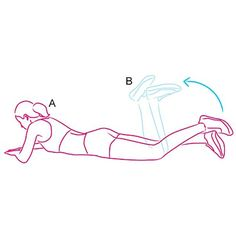 "@homesquat's photo: ""Single-Leg Prone Curl Works: Hamstrings  Lie face down with elbows bent; prop yourself up on forearms. Rest laces of left shoe on top of right heel (A). Bending knees, use right leg to lift left leg (like a weight) toward butt, soles of feet up (B), then lower. Keep lower abs tight to protect back.  This is 1 rep. Do 3 sets of 20 reps per leg."""