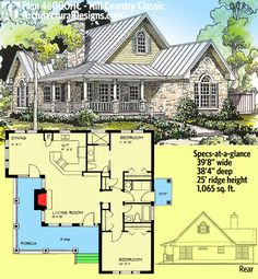 Architectural Designs Hill Country Classic House Plan 46000HC gives you over 1,000 square feet and a great L-shaped porch. See photos of it being built on our site. Ready when you are. Where do YOU want to build?