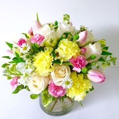 Send the White, Yellow And Pink Flowers bouquet of flowers from Simply Flowers in Ontario, CA. Local fresh flower delivery directly from the florist and never in a box! Fake Flowers, Exotic Flowers, Yellow Flowers, Spring Flowers, Beautiful Flowers, Flowers Garden, Pink Yellow, Simply Beautiful, Yellow Flower Arrangements
