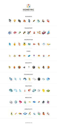 Several isometric flat icon designs divided in 9 theme sections.