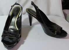 """RALPH LAUREN"" BLACK LEATHER HEELED SHOES SIZE 11 - PLEASE SEE ALL PICTURES #RALPHLAUREN #PumpsClassics"