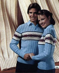 His & Hers Jacquard sweaters from a 1980 catalog, Men's Casual Fashion Tips, 80s Fashion, Trendy Fashion, Fashion Outfits, Vintage Fashion, 80s Costume, Matching Sweaters, Fashion Catalogue, Winter Sweaters