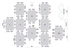 Bryllupsprogram, bordplassering, Silje og Toralv. Wedding program. Seating chart.