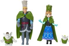 Disney Frozen Anna and Kristoff Doll Wedding Gift Set. Celebrate the wedding of Anna and Kristoff!. These favorite Disney Frozen characters appear together dressed in elaborate headdresses and beautiful capes. Gift set also comes with two trolls: the mystical and affectionate creatures who live in the woods!. Girls will love playing out the wedding scene from the movie Frozen with these four characters. Includes small dolls Anna and Kristoff and 2 trolls.