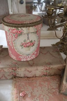 Need storage for small items? Cover plain boxes or containers with vintage drapery fabric. Another idea: Stitch a lace doily onto a solid color pillow to highlight its intricate design.