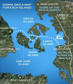Ferry route from Anacortes to the San Juan Islands and on to Victoria, B. C.  courtesy of San Juan Visitors Bureau
