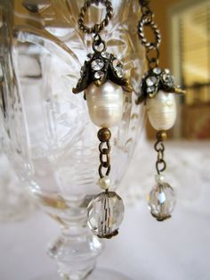 assemblage jewelry pearl rhinestone earring dangle by atelierparis, $42.00