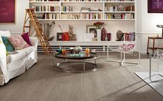 Barolo Laminate Flooring from Meister in White Grey Oak - Light oak with gorgeous grey graining giving an overall medium tone. Laminate Flooring, Hardwood Floors, Grey Oak, Light Oak, Decoration, Bungalow, My House, Modern, Bookcase