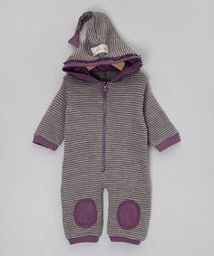 Grey & Purple Stripe Wool Romper with Hood  by Okker-Gokker on #zulilyUK today!